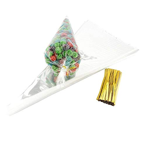JZK100 x Bolsas Cono Transparente bolsitas celofán con precintos Dorados Bolsa favores chuches Caramelos Galletas Palomitas de maíz nueces para Boda Fiesta Navidad cumpleaños
