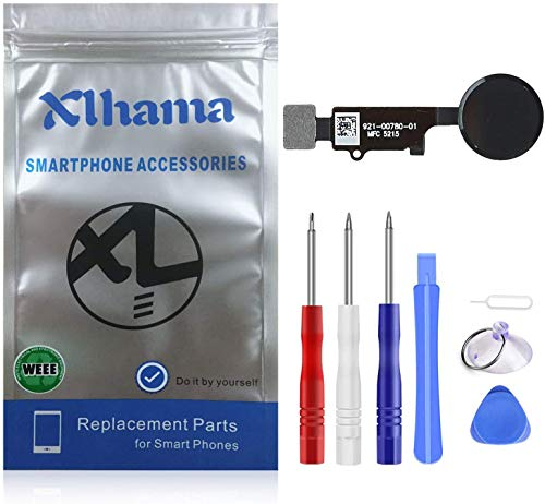Xlhama Ricambio Pulsante Home per iPhone 7 7 Plus 8 8 Plus (Nero) Cavo Flessibile, Supporto Metallico Pre-installato Kit Smontaggio trasformazione