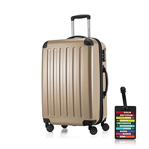 SALE% HAUPTSTADTKOFFER® koffer met harde schalen · 3 koffergroottes (42 liter · 74 liter · 119 liter) · hoogglans · ofwel met normale of TSA-cijferslot + kofferhanger (74 liter TSA-slot, champagne)