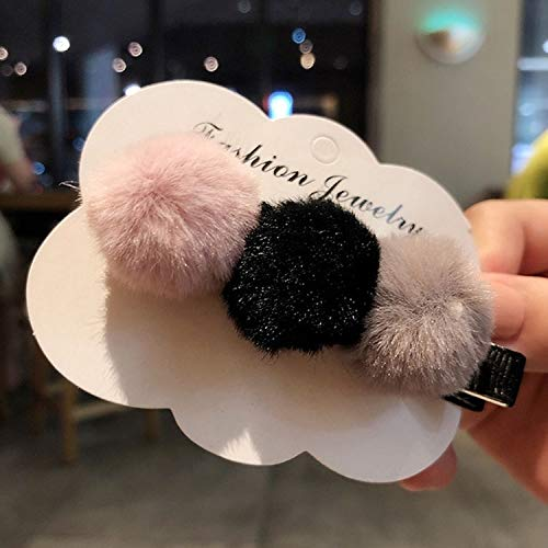 Accessori per Capelli Styling Peluche Automne et Hiver Conception Hairpin Couleur Simple Assorti Clip Duckbill (Couleur : Pink Black Grey)