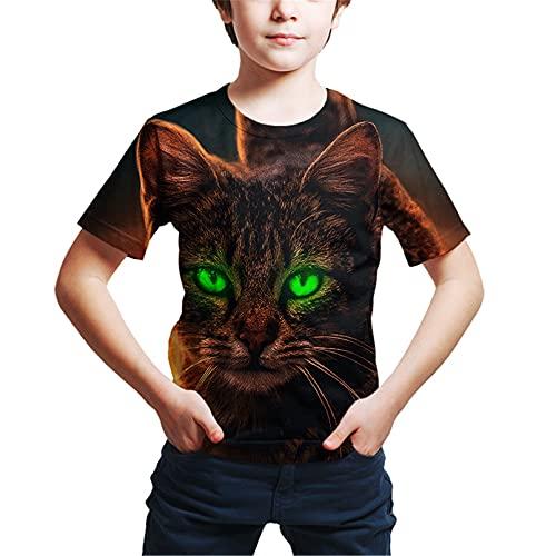 Camiseta De Verano para Niños con Estampado 3D De Animales De Gato Y Perro Camisetas De Moda De Manga Corta para Niños Y Niñas Picture color17 10T