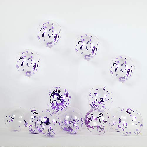 Purple Confetti Balloons 30 Pack 12 inch Latex Party Balloons with Confetti Dots for Wedding Engagement for Graduation Party Wedding Baby Shower Birthday Carnival Party Decoration Supplies.