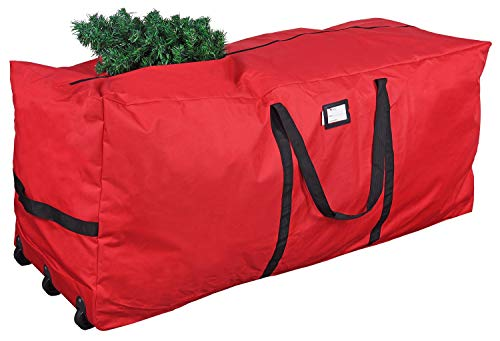 """ProPik Christmas Rolling Tree Storage Bag, Fits Up to 9 Ft Tall Disassembled Trees, 28"""" X 16.5"""" X 60"""", Extra Large Heavy Duty Storage Container with Wheels & Handles, 600D Oxford (Red)"""