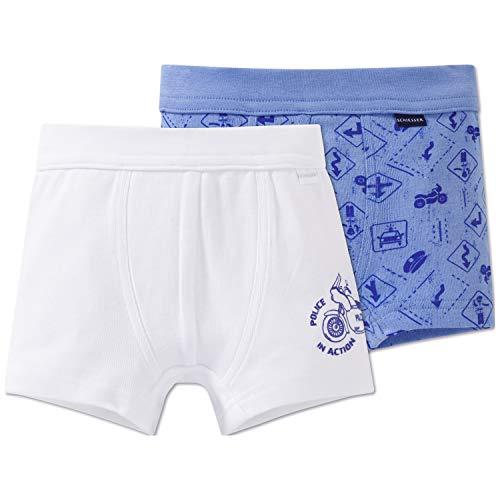 Schiesser jongens multipack - set shorts boxershorts, meerkleurig (blauw/wit), 140 (set van 2)