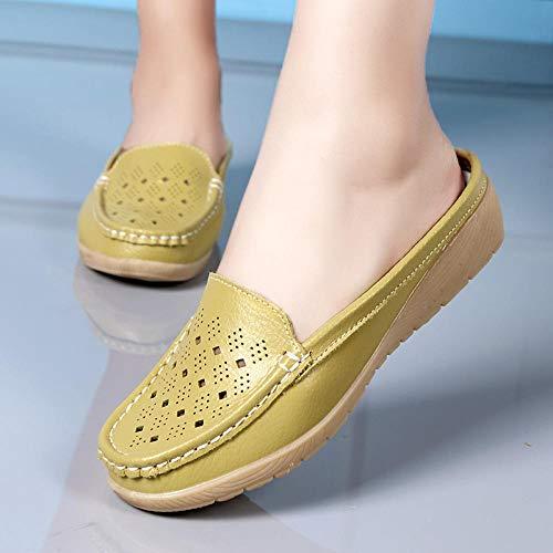 N/A Zapatillas para Mujer, Sandalias y Zapatillas para Mujer Baotou, Zapatos Huecos Casuales y de Moda con tacón Inclinado para Mujer-Yellow_36