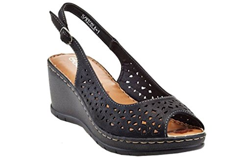Lady Godiva Nicola Women's Slingback Wedge Sandals Black