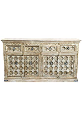 Orientalische Kommode Sideboard Abinash 192cm Grau Beige | Orient Vintage Kommodenschrank orientalisch Handverziert | Indische Landhaus Anrichte aus Holz | Asiatische Möbel aus Indien