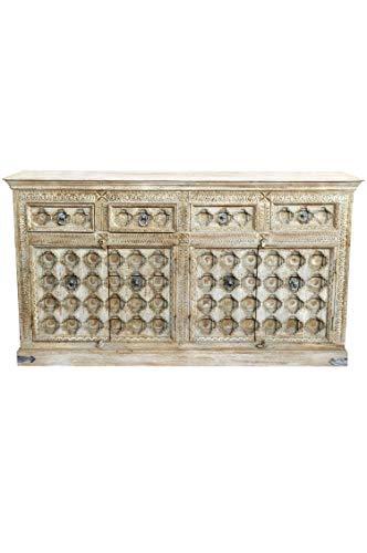 Oriëntaalse commode Sideboard Abinash 192cm grijs beige | Orient vintage commodekast oosters met de hand versierd | Indiase landhuis dressoir van hout | Aziatische meubels uit India