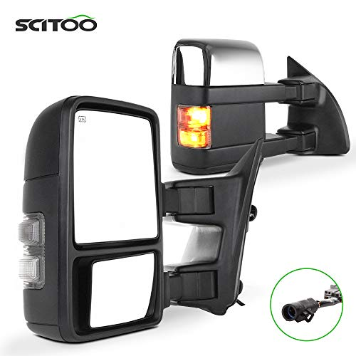 SCITOO Rear View Mirrors fit 1999-2007 Ford F250 F350 F450 F550 Super Duty Chrome Side View Mirrors Power Heated Led Smoke Signal Lights Towing Mirror Pair Set