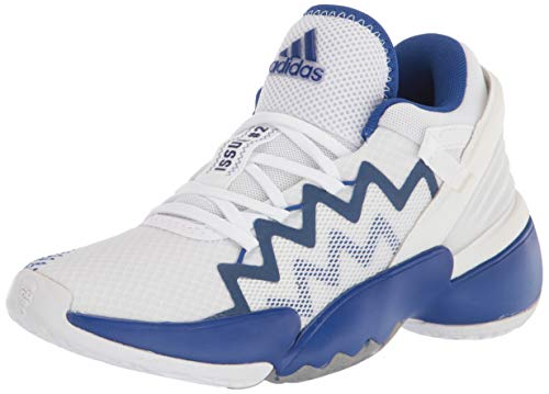 adidas unisex adult D.o.n. Issue 2 Basketball Shoe, White/Team Royal Blue, 14 Women Men US