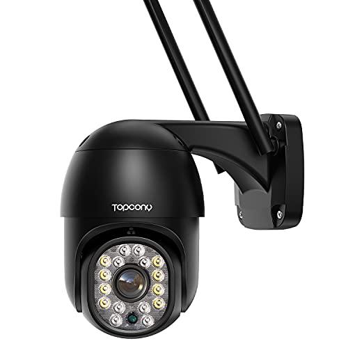 Telecamera Wifi Esterno con Visione Notturna a Colori, Topcony PTZ Zoom Digitale IP Videocamera di Sorveglianza con Pan 355° e Tilt 90°, Auto Tracking, Rilevamento del Movimento, Supporto ONVIF/NVR