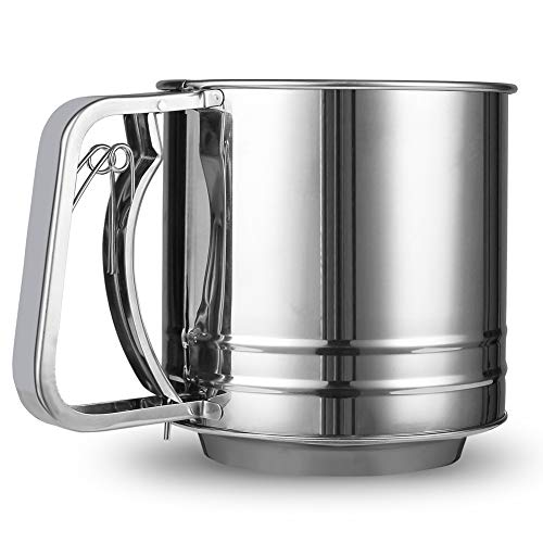 Annlend Flour Sifter for Baking Stainless Steel 5 Cup Double Layers Sieve with Hand Press Design Corrosion Resistant Baking Sieve Cup Large