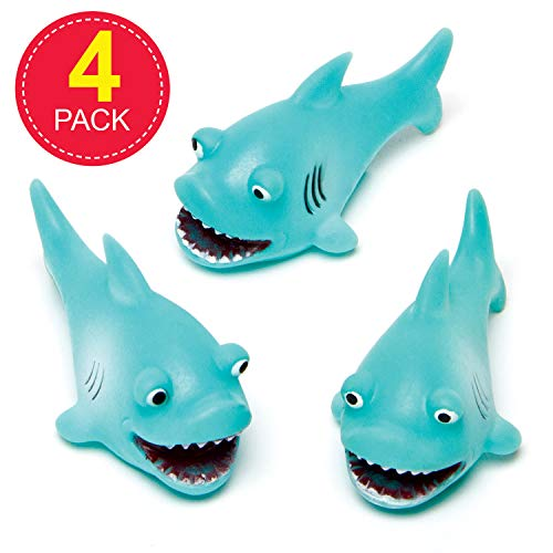 Baker Ross AG648 Shark Squirters, Assorted Floating Rubber Ideal for Baby Bath Time, Pool Toys or Water Activities (Pack of 4)