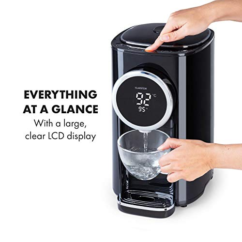 Klarstein Hot Spring Plus hot Water Dispenser, Water Tank: 5 litres, Large LCD-Display, temperatures: 45-95 °C, Stainless Steel Water Tank, Dry & overheating Protection, Child Lock, Black