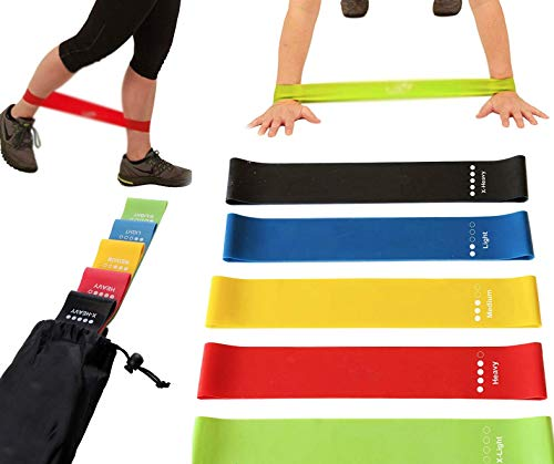 Resistance Loop Bands, 5 Strength Levels - Light to Heavy, Perfect for in-Home Fitness, Strength Training, Physical Therapy – Bonus Wellness & Fitness Guide Plus Carry Bag