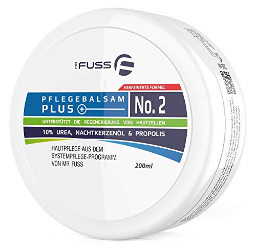Mr. Fuss Hornhaut Creme Pflegebalsam Plus No. 2 Antihornhaut Fusspflege Creme mit 10% Urea Hautpflege Pflege sehr trockene Haut - 200ml