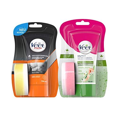 Veet Dusch-Haarentfernungs-Creme für Sie & Ihn - Valentinstags-Pack für zärtliche Zeit zu zweit unter der Dusche - 2x 150ml