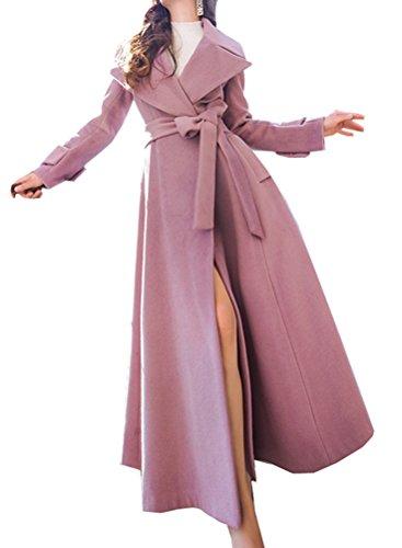 Foluton Damen Elegant Wintermantel Trenchcoat Lang A-Linie Wollmantel Revers Pelzkragen Schlank Parka Übergangsjacke Maxi Mantel Wool Coat Mit Gürtel