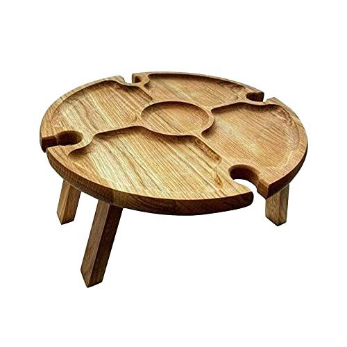 K-Park Mesa de picnic plegable de madera con soporte de vidrio, mesa redonda plegable 2 en 1 para copas de vino al aire libre, jardín, camping, viajes bien hecho