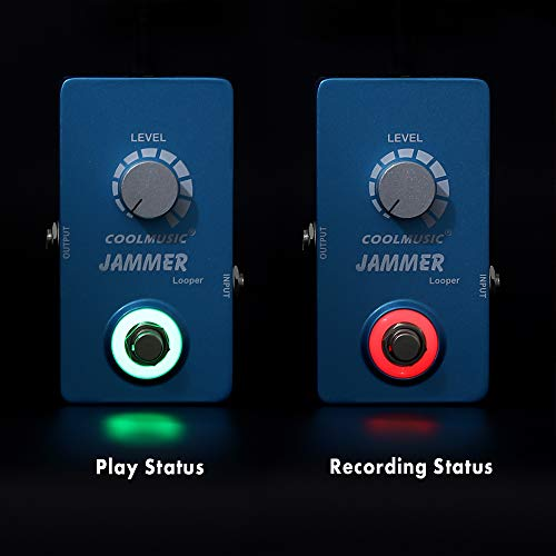 COOLMUSIC A-LP01 Jammer Looper Pedal para Guitarra Eléctrica Bajo 10 Minutos de Looping Unlimited Overdubs