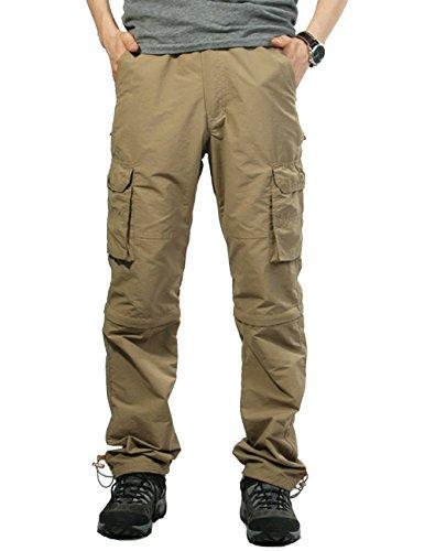 Echinodon Herren Zipp Off Cargo Hose Schnelltrockend/ 6 Taschen/Elastischer Bund Outdooor Hose Vintage Cargohose Khaki