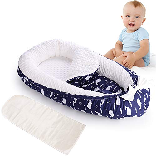 MINGPINHUIUS Baby Nest with 2 Replaceable Mattresses Portable Detachable Baby Lounger Use in Crib BN1039