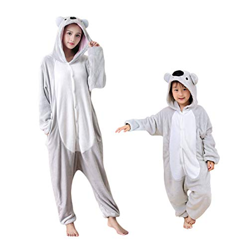 DEBAIJIA Adulto Animale Pigiama Party Regalo di Compleanno Unisex Flanella Sleepwear Cartoon Onesies Koala Grigio - 155