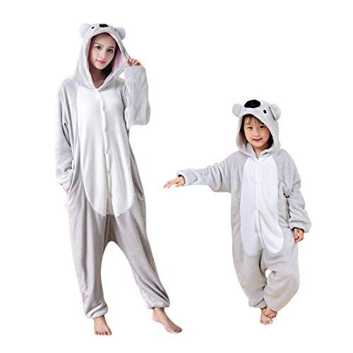 DEBAIJIA Pijama Animal Koala para Niños Niñas Disfrace Cosplay Franela Traje del Anime Invierno Calentito Pyjamas Navidad Onsie Gris-115