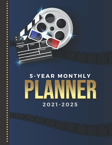 5-Year Monthly Planner 2021-2025: Dated 8.5x11 Calendar Book With Whole Month on Two Pages / Movie Night Film Theater - Theme Cover / Organizer With ... - Charts / 60-Month Life Journal Diary Gift