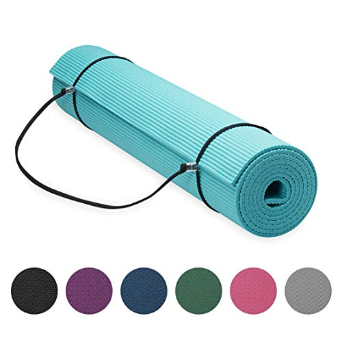 Gaiam Essentials Premium Yoga Mat with Yoga Mat Carrier Sling, Teal, 72 InchL x 24 InchW x 1/4 Inch Thick (05-64061)