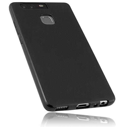mumbi Hülle kompatibel mit Huawei P9 Handy Case Handyhülle, schwarz