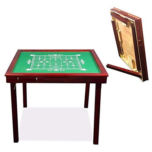 LIUXING Mahjong Spieltisch Massivholz Mahjong Tabelle Folding Handbuch Schach Tabelle Haushalts Tabelle Einfache Multifunktionale Single Table (Farbe : Rot, Größe : Einheitsgröße)