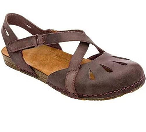 ZZLHHD Hebilla Punta Abierta Sandalias Mujer Plataforma Comoda,Baotou Thick Shoes, Light Open Flash Sandals-Brown_39,B1