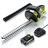 CACOOP 20V Cordless Hedge Trimmer w/Battery and Charger,5.5-lb Lightweight Battery Powered Electric Hedge Bush Trimmer Portable for Cutting Shrubs Garden Outdoor,22-Inch