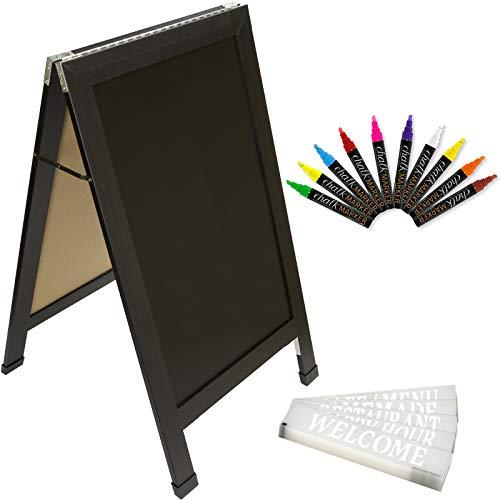 Sandwich Board Sidewalk Chalkboard Sign: Reinforced, Heavy-Duty / 10 Chalk Markers / 40 Piece Stencil Set/Chalk/Eraser/Double Sided/Large 40x23 Chalk Board Standing Sign A-Frame (Black)