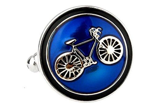 MRCUFF Bike Bicycle Cycling Cyclists Blue Pair Cufflinks in a Presentation Gift Box & Polishing Cloth