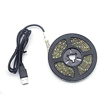 Renohef USB Led Strip Lights,Waterproof DC 5V SMD 3528 16.4ft 5m  300 Leds 60leds/m Cool White Led Strips with USB Cable,TV Desktop Laptop Backlight,Kitchen Decorative Lighting,Ribbon Light,Rope Light