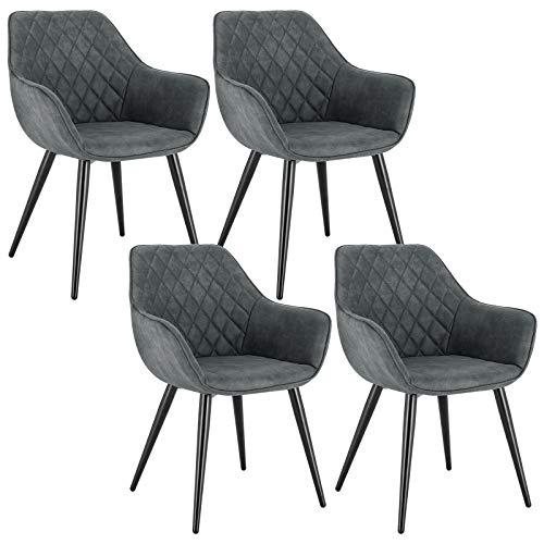 WOLTU Esszimmerstühle BH231gr-4 4er Set Küchenstühle Wohnzimmerstuhl Polsterstuhl Design Stuhl mit Armlehne Grau Gestell aus Stahl Stoffbezug