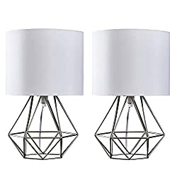Pair of Geometric Table Lamps with a Metal Open Basket Cage Base and White Fabric Shades Brushed Chrome Finish - Ideal For Living Rooms, Kitchens, Bedrooms and Hallways Measurements: Height 400mm x Diameter 250mm 2 x 40w SES E14 Golfball Bulbs are Re...