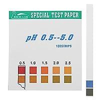 精密PHテストストリップ近距離0.5~5.0インジケータ紙テスタ100のストリップ箱入りW /カラーチャート