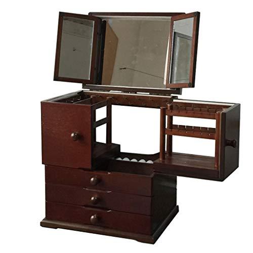 ZANZAN Joyero de madera con 3 espejos y pendientes extensibles, soporte para exhibición retro, vintage, caja para joyas, extragrande, color blanco franela A