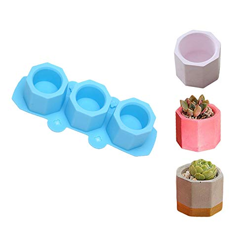 Vvciic Silicone Vase Decoration, Plant Molds Succulent Plant Flower Pot Silicone Molds, DIY Home-Made Cake Soap Tool Polygon Stone Crafts, Easy to Release and Clean