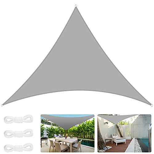 Vivibel Velas Sombra, Toldo Rectangular/Triangulares, Toldo Impermeable Exterior 420D PES poliéster, Vela De Toldo Protección UV, para Jardín, Balcón, Exterior, Terraza, Camping (3 * 3 * 4.3m, Gris)