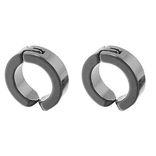 Amesii, 1 paio di orecchini a cerchio da uomo in acciaio inossidabile, senza piercing, a clip e Acciaio inossidabile, colore: Nero , cod. AME001