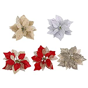 Amosfun 5pcs Glitter Christmas Flower Poinsettias Christmas Tree Decorations Ornaments Christmas DIY Crafts