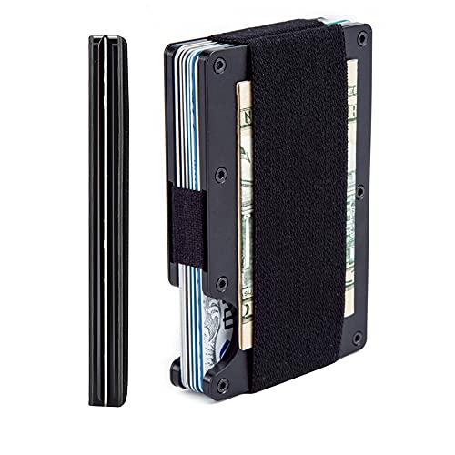 Minimalist Aluminum Wallet, Slim Money Clip Metal Wallet RFID Front Pocket Wallet(black)