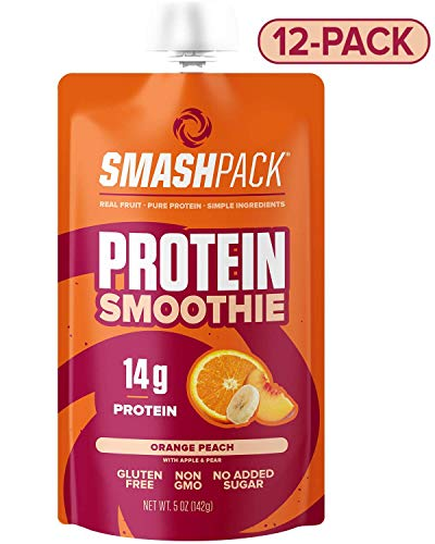 SmashPack Orange Peach Protein Fruit Smoothie Pouch 12 Pack | 14g Whey Protein with MCT Oil | Paleo Friendly, No Added Sugar, Gluten Free, Soy Free, Non-GMO | 100% BPA Free | 5 oz Squeeeze Pouches