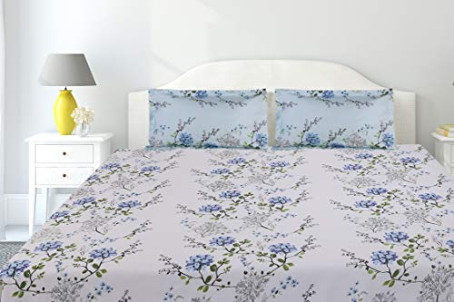 haus & kinder Victorian Summer Dream 100% Cotton Double Bedsheet with 2 Pillow Covers, 186 TC, Size...