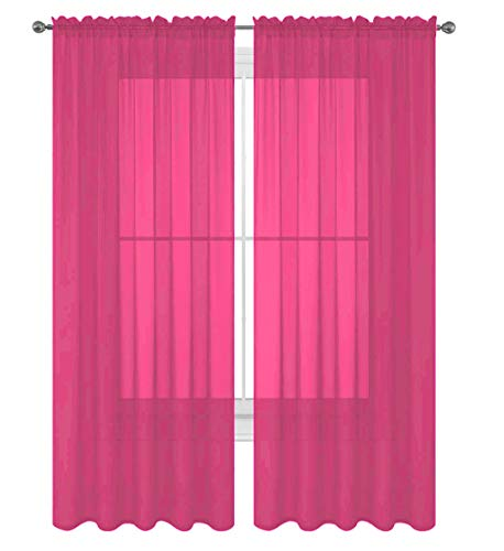 Decotex 2 Piece Solid Elegant Sheer Curtains Fully Stitched Panels Window Treatment Drape (54' X 63', Hot Pink)