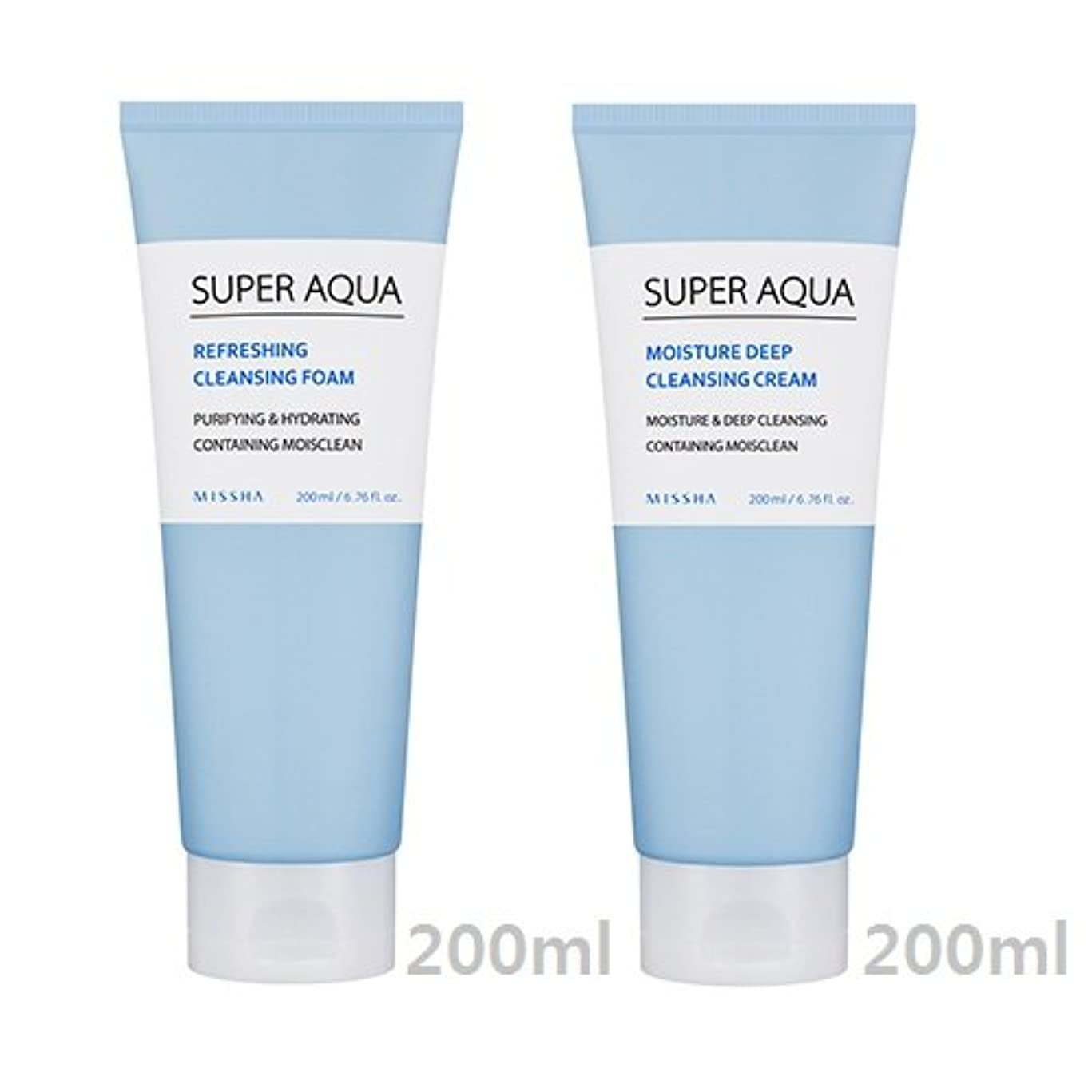 申し立てる映画ヒント[1+1] MISSHA Super Aqua Cleansing Cream + Foam/ミシャ スーパー アクア クレンジング クリーム + フォーム [並行輸入品]